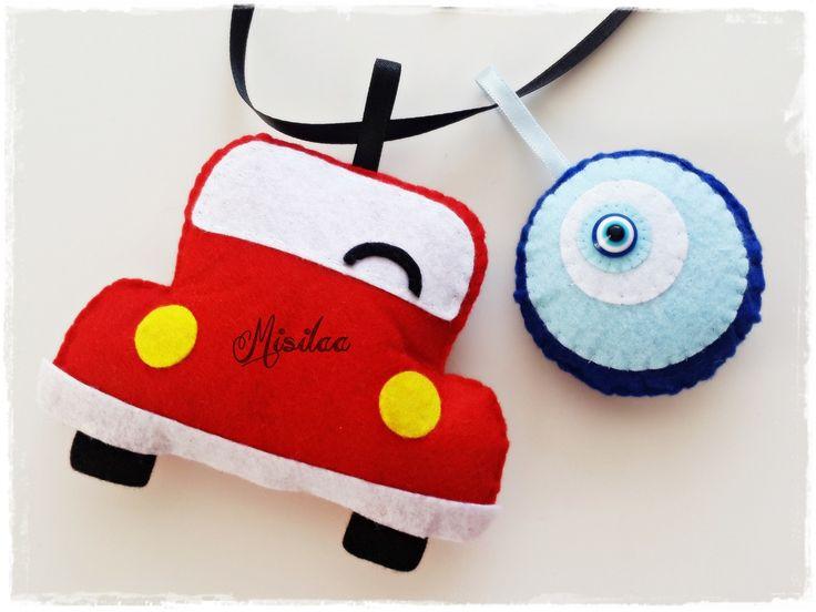 Keçe araba ve nazar boncuğu / dikiz aynası süsü / www.misilaa.com * handmade #feltcar #kecearaba #arabadikizaynasısusu
