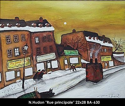 Original mixed media painting by Normand Hudon. Available at Le Balcon d'Art, St-Lambert Qc Canada #hudon #art #caricaturist #facades #mainstreet #mixedmedia #canadianartist #quebecartist #originalpainting # #balcondart #multiartltee