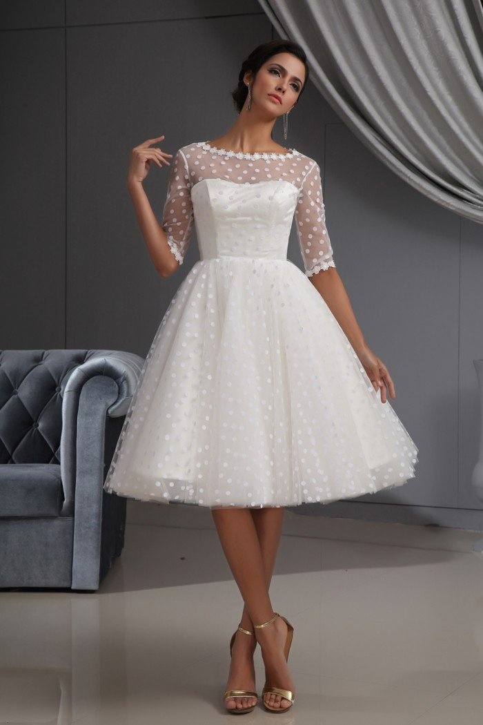 Winey Bridal, Bateau Long Sleeves Beach White Wedding Dresses, good for very informal, daytime weddings or even a prom formal, because of the style and length , it's fine to wear a white dress such as this to semi-formal , and now days even formal occasions!