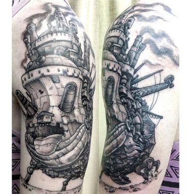 Howl's Moving Castle by Hanna Sandstrõm (@kaptenhanna) at Dark Age Tattoo in Seattle, Washington.
