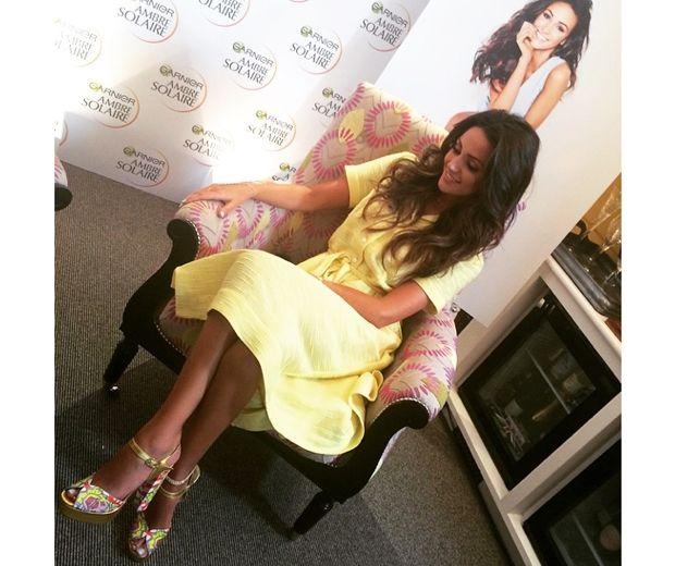 Michelle Keegan looked beautiful in a yellow Orla Kiely sun dress at the Garnier launch