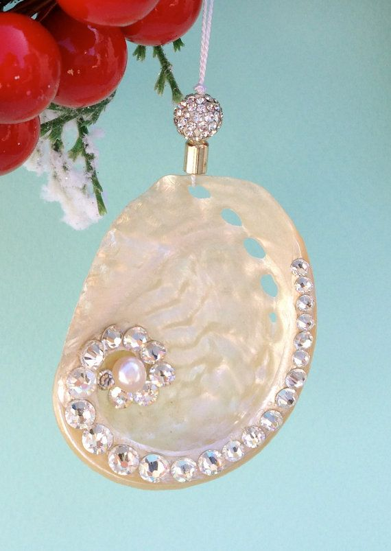 Beach Christmas Ornament - Silver Abalone Seashell with Swarovski Crystals