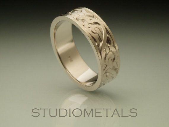 Mens Nordic Wedding Band Hand Engraved Ring Mens by Studiometals, $1675.00