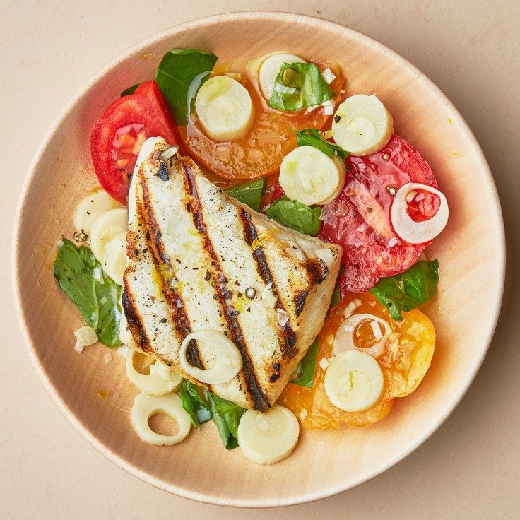 Grilled Halibut with Tomatoes and Hearts of Palm