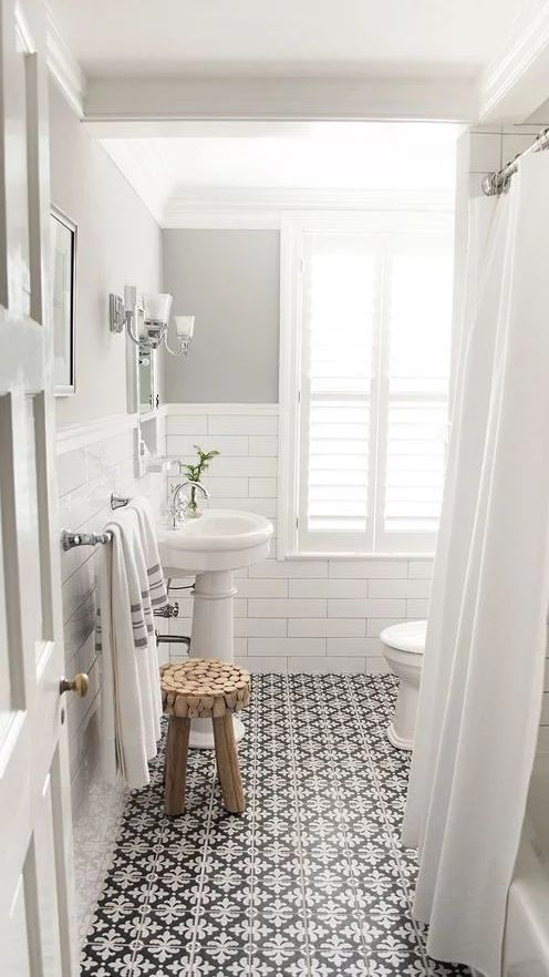 Like this, but it should be black & white mosaic tiles. Not lamps or silver hardware.