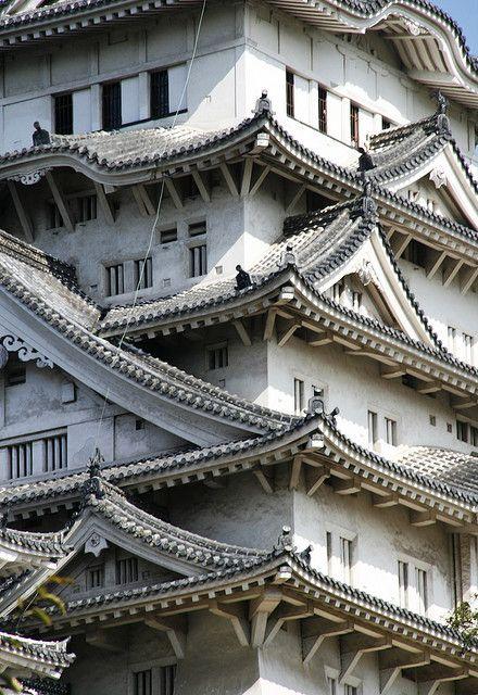 Himeji Castle (姫路城 Himeji-jō?) is a hilltop Japanese castle complex located in Himeji, in the Hyōgo Prefecture.  Photo: http://www.flickr.com/photos/cchambaz/3033041285/