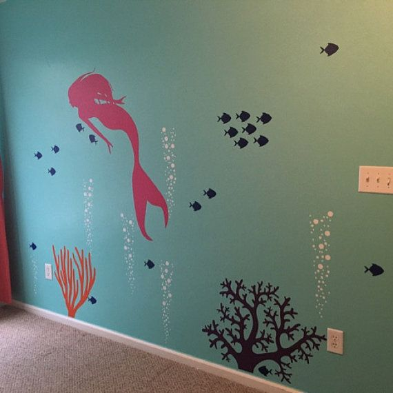 Mermaid Decal Mermaid Wall Decal Aquarium Bubbles Decal Girls Ocean Decal Deep Sea Wall Decal Little Mermaid Decal Mermaid Wall Art Sticker  Great addition to your aquarium or deep sea themed wall. Looks great as is!  Overall dimensions of design = 68H x 80W (approximate since you can lay out the decal in any design)  Mermaid • 22W x 48H Complex Coral • 22H x 30W Simple Coral • 22H x 18W 5 Bubble Columns • each one is 22H x 5-10 (each one is layed out as seen in 2nd photo - add included…