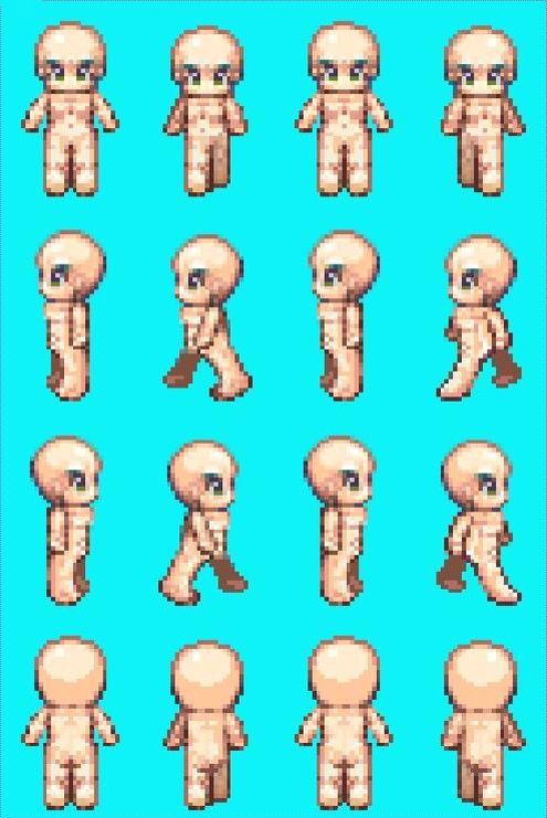 RPG maker XP nude male sprite sheet. Can be easily tweaked
