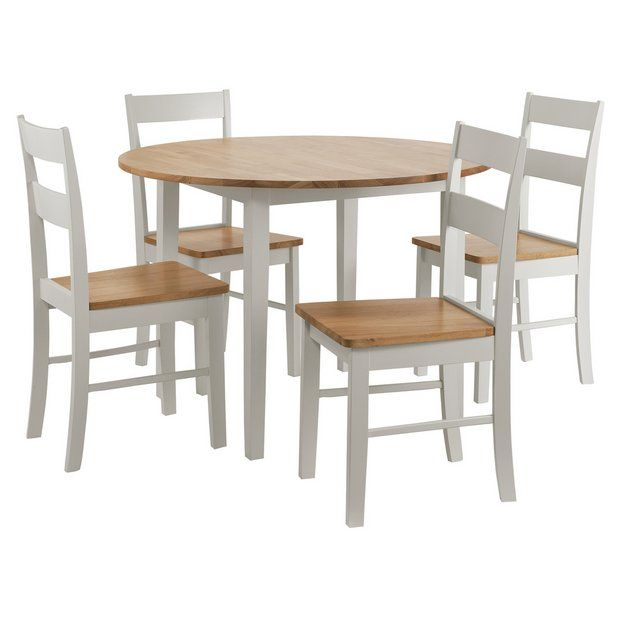 Buy Argos Home Chicago Solid Wood Round Table & 4 Two Tone Chair | Space Saving Dining Sets | Argos | Large Round Dining Table, Solid Wood Dining Room, Wood Dining Room
