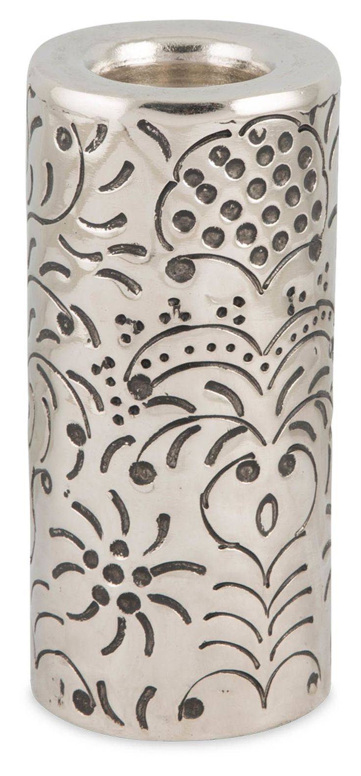 Aluminium French Embossed Cylinder Tealight Holder | Temple & Webster