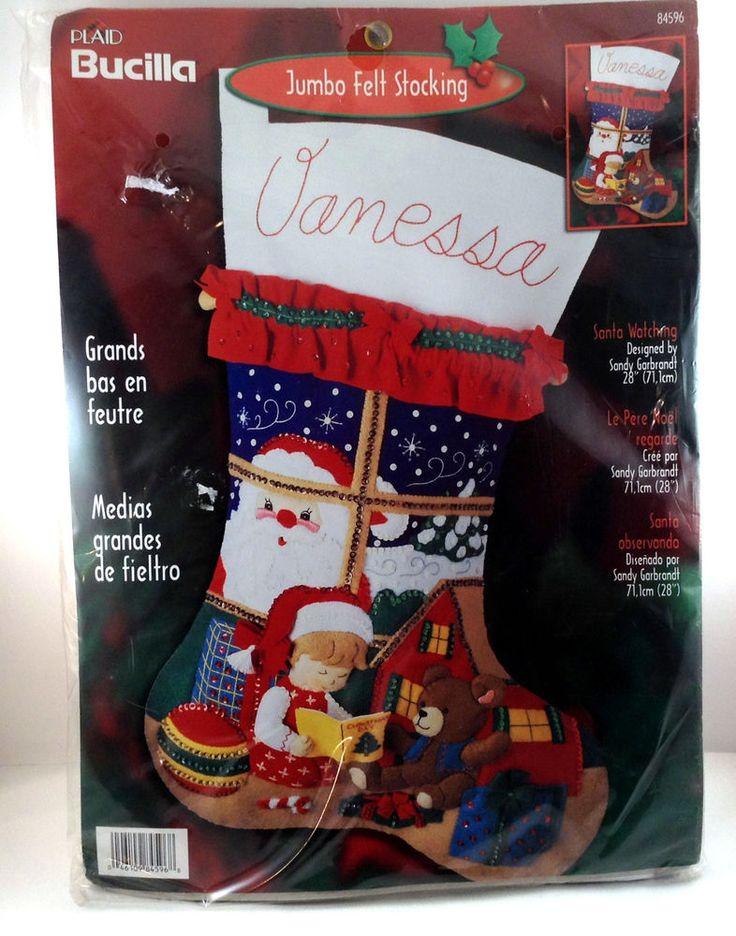 """Bucilla Santa Watching Jumbo 28"""" Felt Stocking Kit Child Bear Toys #84596 Sandy #Bucilla"""