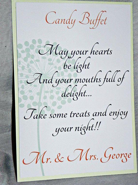 Wedding Candy Buffet Signs | PRINTABLE Wedding Sign/Candy Buffet Sign/Sweets Table Sign in coral ...