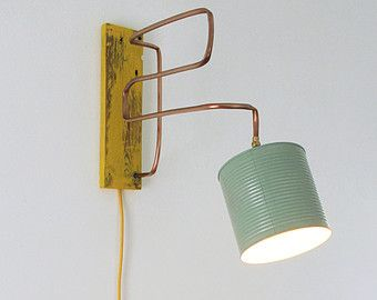 Wall lamp / applique copper wood and tin jar by Ideesign on Etsy