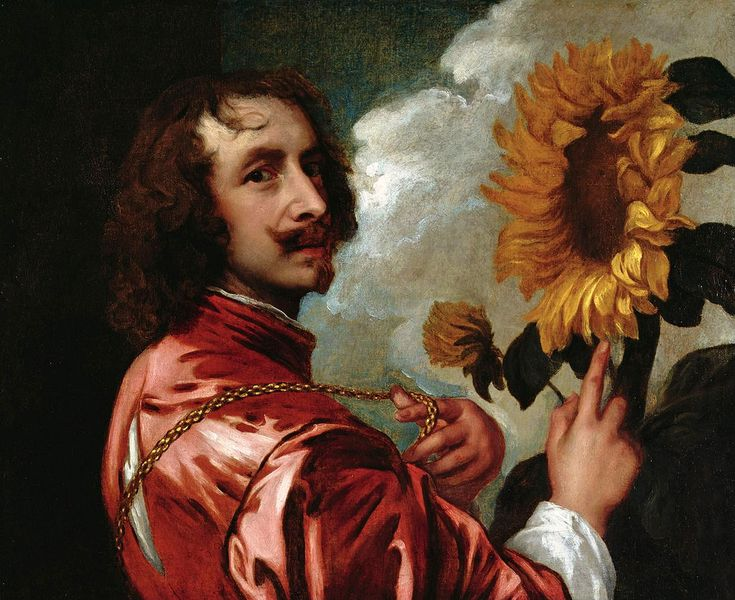 Anthony van Dyck - Self-portrait with a sunflower (after 1633)