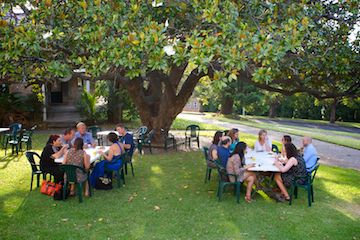 Members enjoying our BBQ for Christmas in the wonderful afternoon light