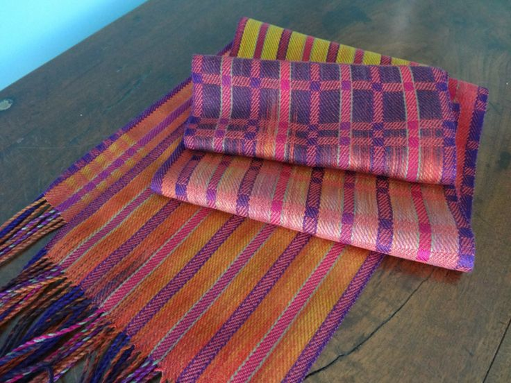 Fall Sunset Cotton and Silk Scarf – Copper Weft/ Handwoven