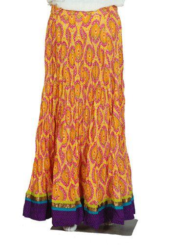 Crinkled Long Blockprinted Skirt Design 3 – Desically Ethnic