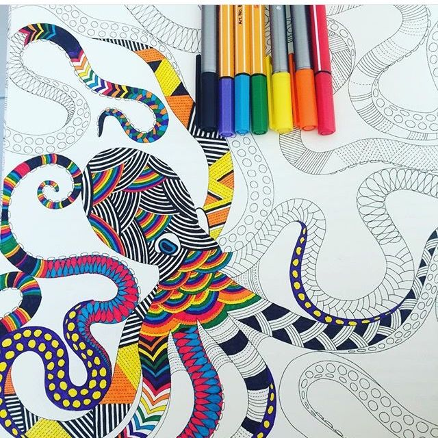 Octopus Art Doodle Animal Kingdom Coloring Books Pallets Tropical Wonderland Doodles Therapy