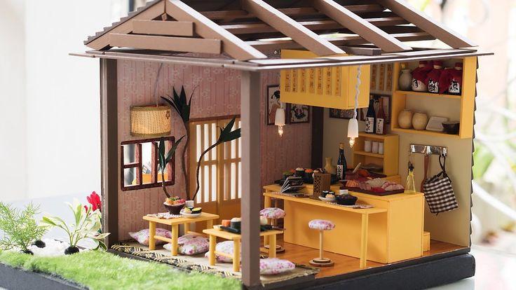 Diy miniature dollhouse kit sushi restaurant with