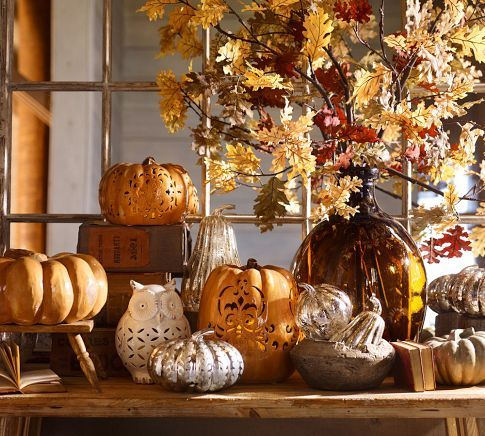 Fall Halloween Decorating.  Mercury Glass Pumpkins with traditional Orange Pumpkins at Pottery Barn