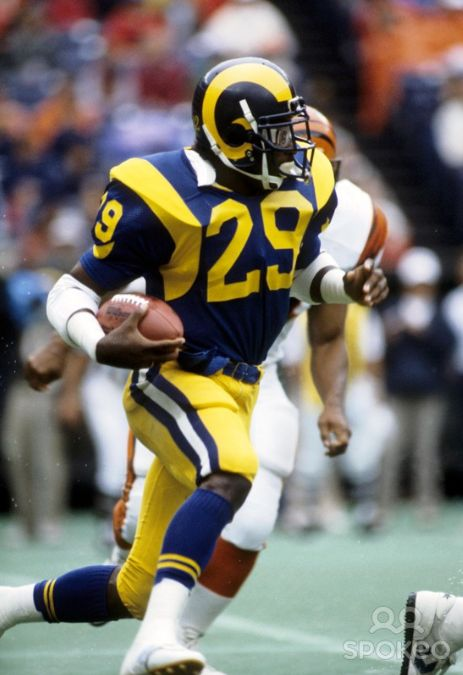 Eric Dickerson, running back, Los Angeles Rams. Dickerson holds the NFL single-season rushing record with 2,105 yards, set in 1984.