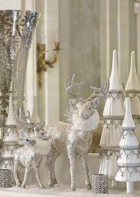 loving the white and silverthis will be done in my house this year only im adding a touch of gold christmas crafts and decorating pinterest