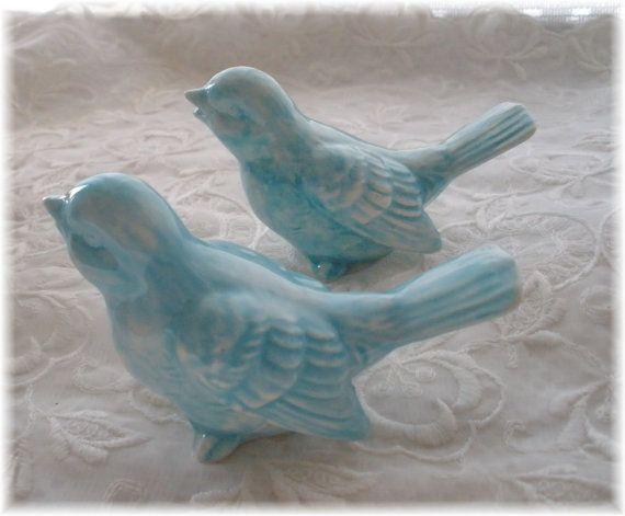 Wedding Cake Topper Vintage Birds Ceramic in by Angelheartdesigns, $22.00