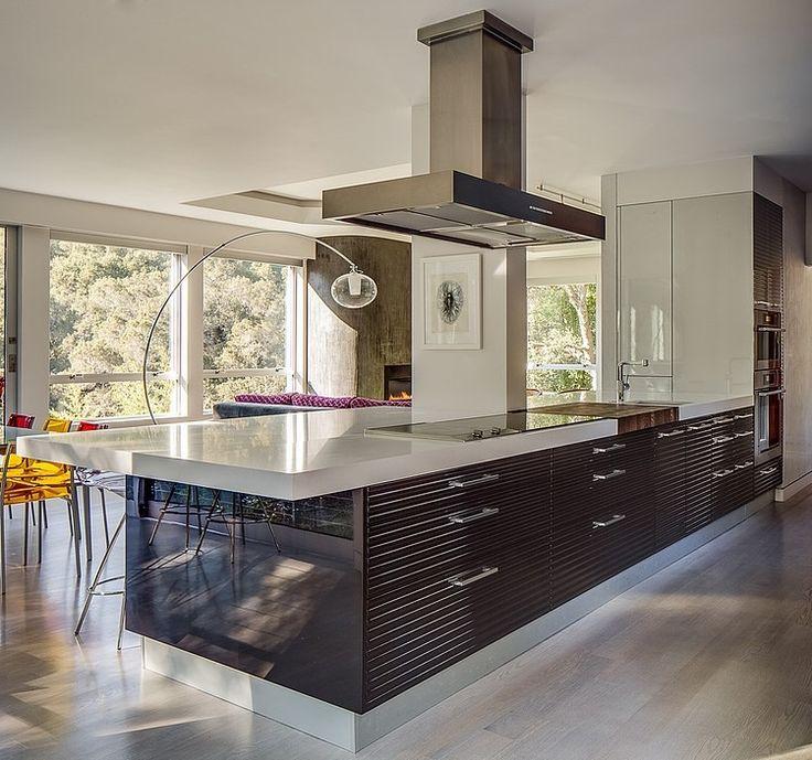 Fantastic Modern Home Design with Vegetation in Surround: Modern Neat Kitchen Design Modern Volumetric House In California