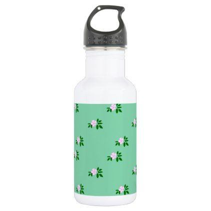 pink flowers green big water bottle - home gifts ideas decor special unique custom individual customized individualized