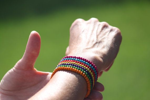 Seven coloured wooden beaded bracelet by DeaJewelryStore on Etsy