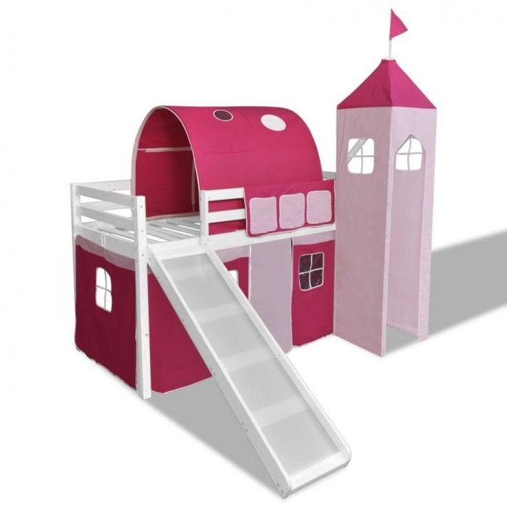Childrens Loft Bed Slide Ladder Castle Themed Pink White Tent Bunk Wood Bedroom #ChildrensLoftBed
