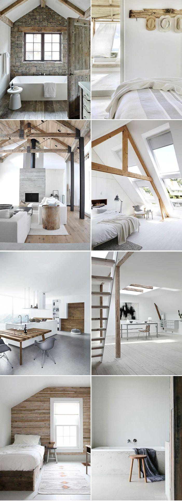 """La tendencia de espacios claros, modernos y casi minimalistas con mezclas  de elementos rústicos da personalidad y carácter a cualquier espacio. Pisos  y paredes de madera, ladrillo, vigas expuestas, accesorios """"sin acabado""""  ymobiliario revestirán tu hogar. ¡Inspírate!"""
