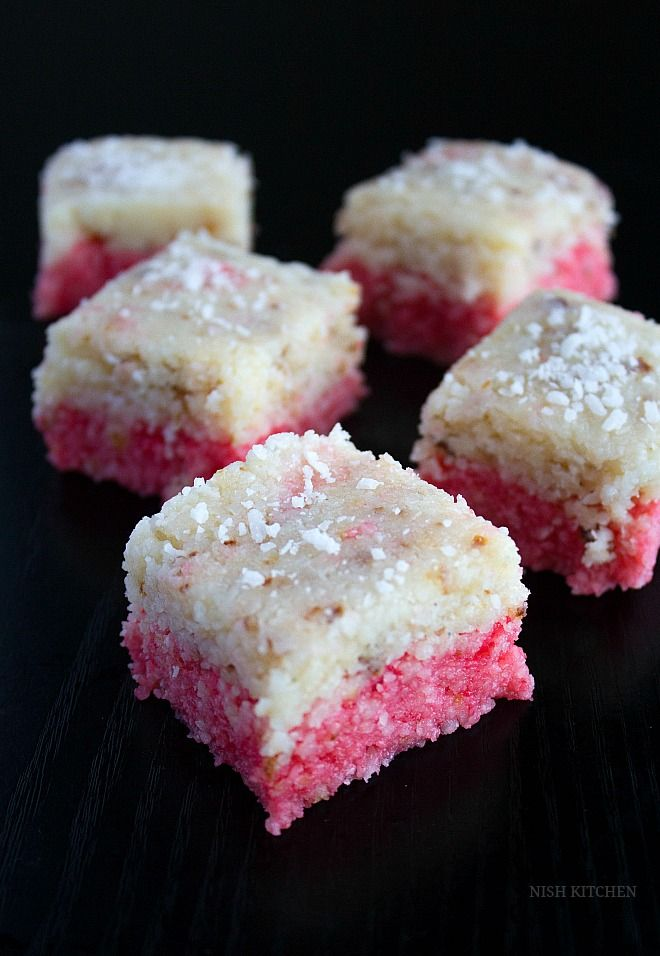 This layered coconut burfi recipe is a makeover of the traditional Indian sweet made with coconut and condensed milk.