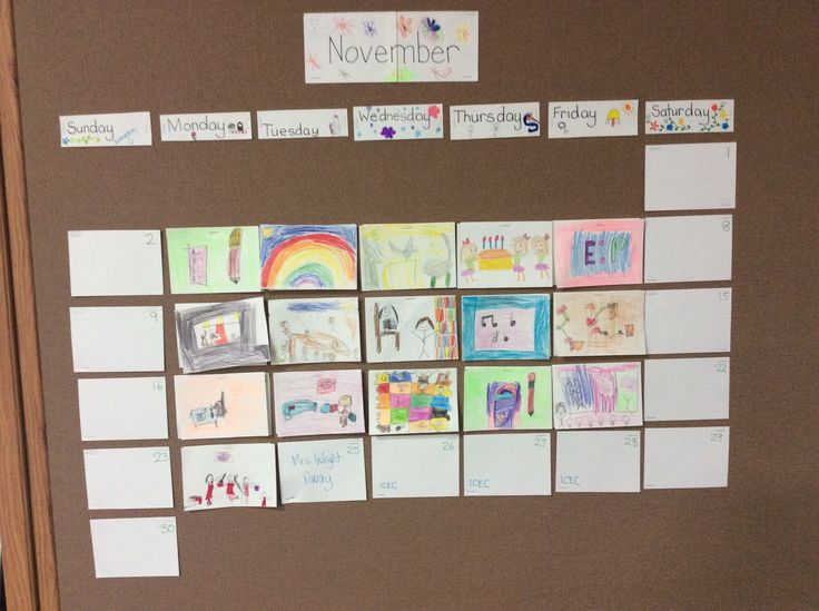 Student created calendar - reggio inspired ask a student each day to draw or write about something great that day