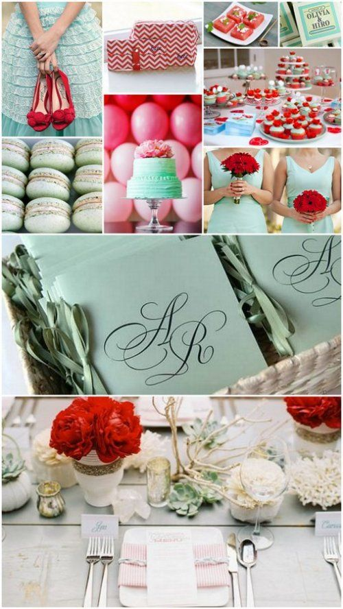 mint green and pomegranate red wedding color theme