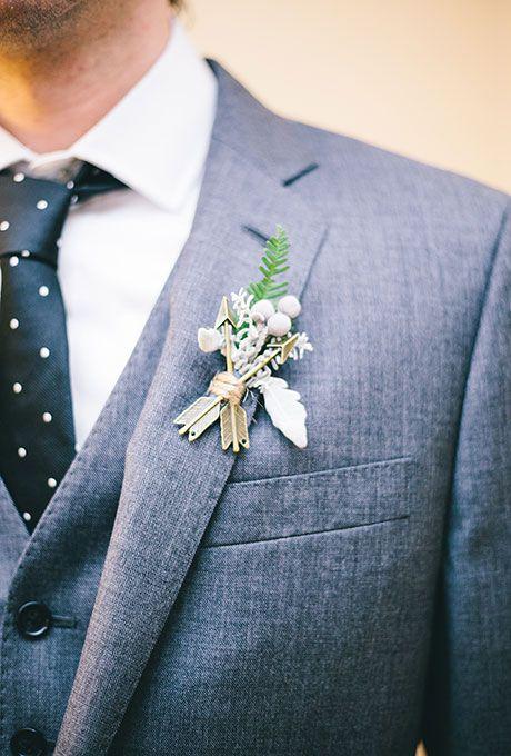 Browse dozens of fun, new #boutonniere ideas | Brides.com