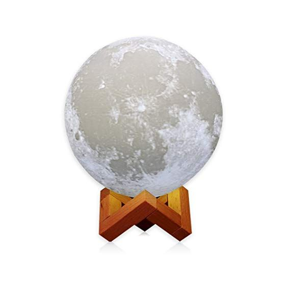 Amzlife Upgraded Version 3d Printing Led Moon Lamp Lighting Touch Sensor Switch 2 Brightness Changeable 3000k 6 Moon Light Lamp Light Decorations Touch Lamp