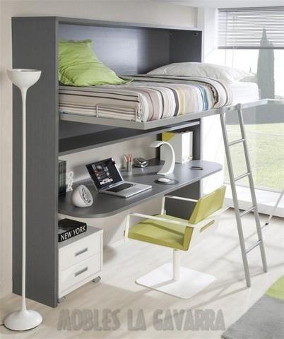M s de 1000 ideas sobre camas elevadas en pinterest - Litera con escritorio debajo ...
