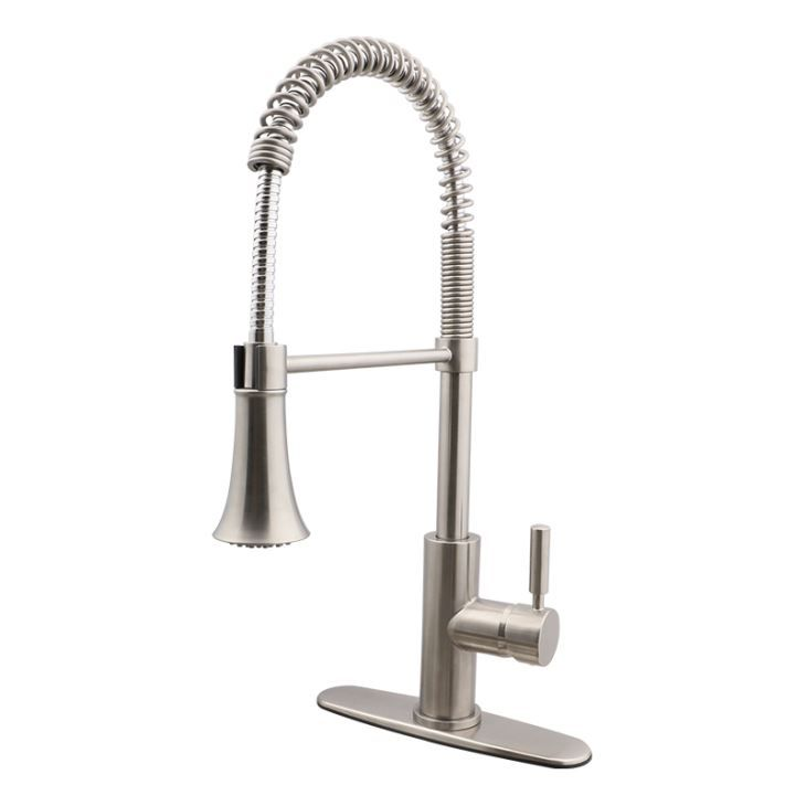 front stainless spray down single kitchen with hole faucet nickel withrow pull brushed steel