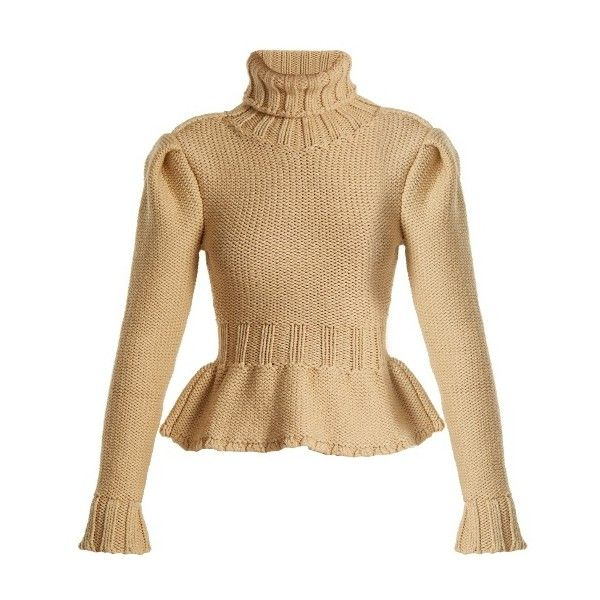 Lemaire Roll-neck chunky wool-knit sweater (9.381.540 IDR) ❤ liked on Polyvore featuring tops, sweaters, camel, knitwear sweater, chunky knit sweater, knit sweater, knit top and chunky knitwear