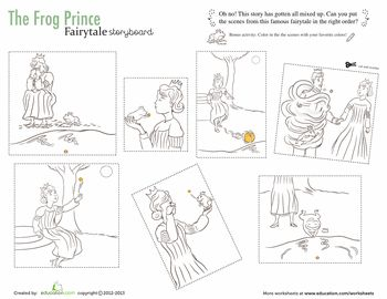 Worksheets: The Frog Prince Story