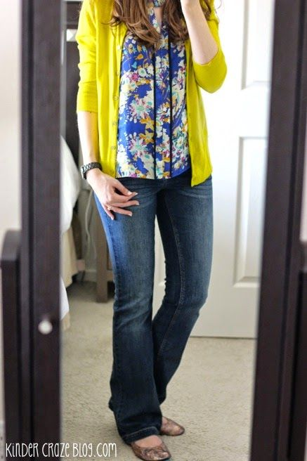 blue keyhole floral print blouse, chartreuse cardigan, and Kensie bootcut jeans from Stitch Fix