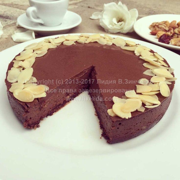 Нежный шоколадный пирог из тофу (без муки, без сахара, без масла, веганский)