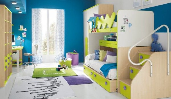 Kid's Bedroom Ideas with Modern Style : Blue Kids Room Design With Bunk Bed