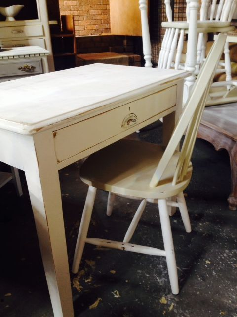 SOLD - Schoolteachers Desk  solid timber, white with gentle distressing, beautiful patina and one deep drawer  91cm w x 57cm d x 76cm h  $150 desk only, $175 desk and chair  Pick up Allambie with delivery available a a reasonable price