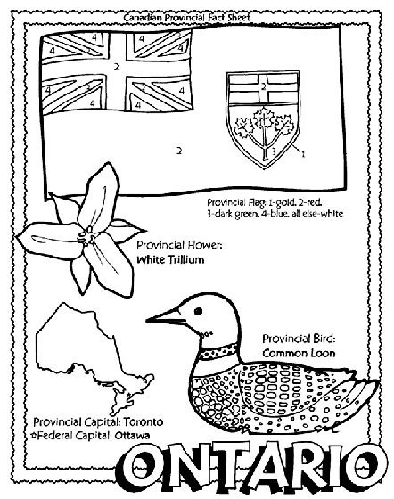 Canadian Province - Ontario coloring page Helpful for memory work with Claritas Classical Academy Cycle 3 Geography http://claritasclassicalacademy.com/Curriculum.html