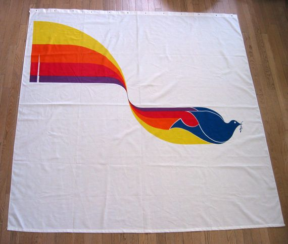 New/old stock, unused hand-printed screen Marushka shower curtain featuring a multicolored peace dove and rainbow image. The dimensions are 71 wide and 72 tall. The curtain is clean and ready to hang. One factory flaw on far left edge. This item was found at an estate sale in Grand Haven, Michigan, home to the original Marushka studio. I tried to hang it temporarily to show what it might look like in your shower.