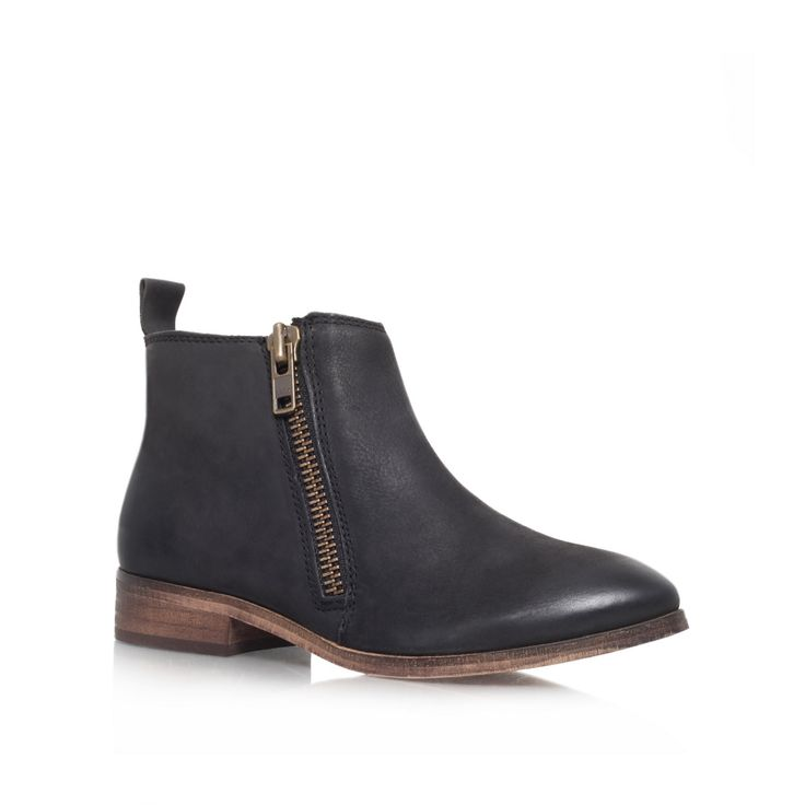 Black 'spitfire' leather flat ankle boot