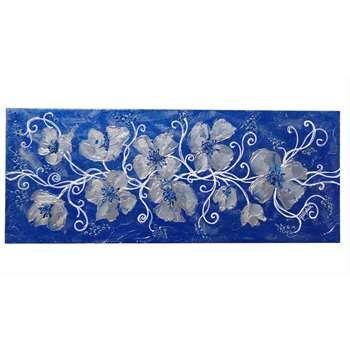 """Quadri Floreali Moderni """"Armonia floreale in blu"""" Materico acrilico su tela. Il blu come sfondo e l'argento e il bianco come colori abbinati ai fiori: armoniosamente insieme per chi ama il blu in camera da letto o in un soggiorno moderno."""