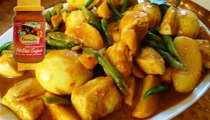 Surinaams eten – Surinaamse Roti met kip masala, kousenband, aardappelen en hardgekookte eieren